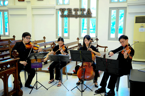 String Quartet at Wedding at Church of St Teresa