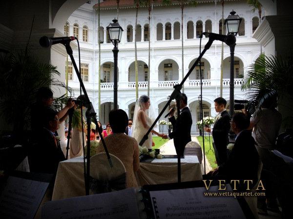 Wedding Ceremony at Raffles Hotel Palm Court Singapore