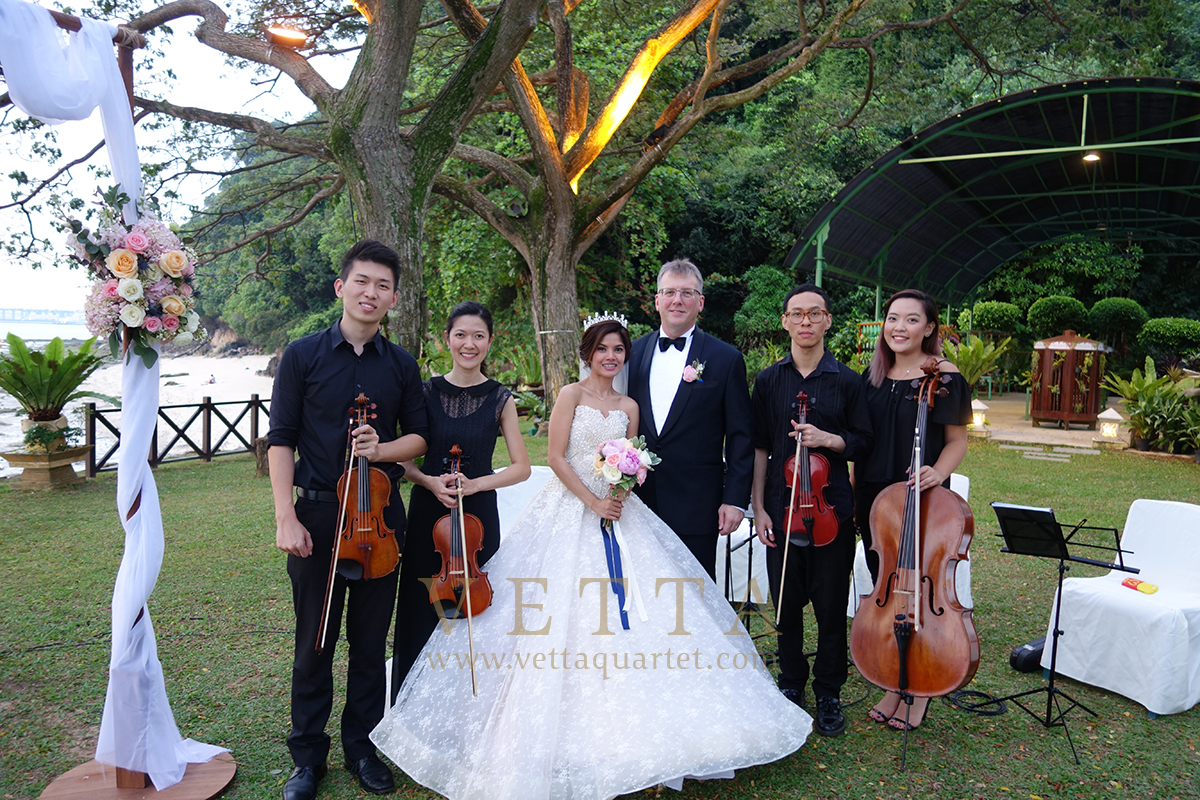 String Quartet for Outdoor wedding at Shangri La Rasa Sentosa, The Rocks
