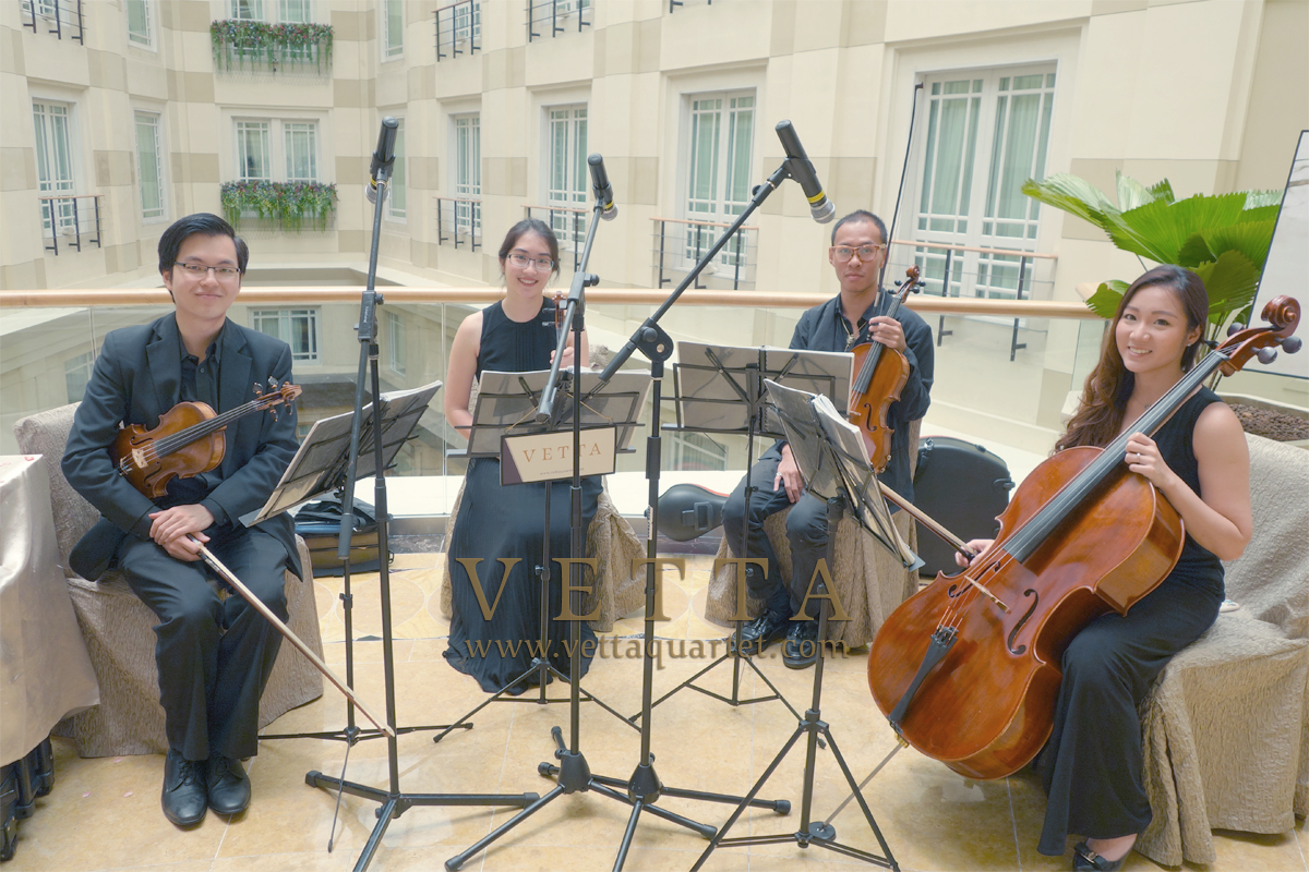 String Quartet for Cindy and Caleb wedding at Fullerton Hotel - Straits Room