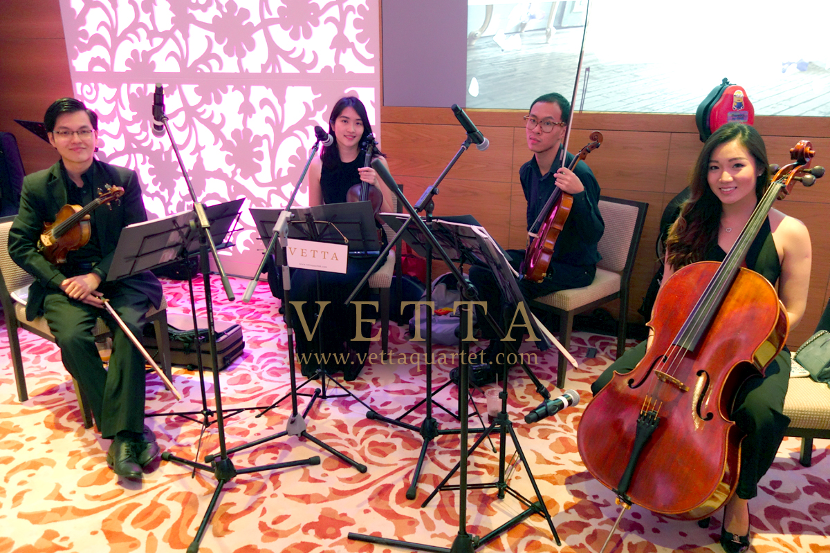 Four String Musicians providing live music for Singapore wedding