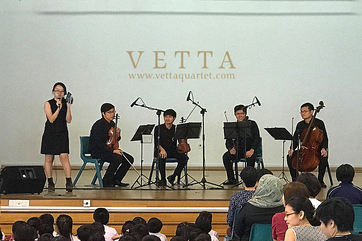 Emcee and Live String Quartet performing at  Springdale Primary School Singapore