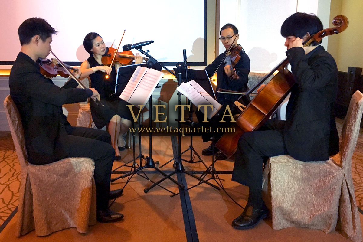 Live String Quartet playing for wedding at Fullerton Hotel Singapore