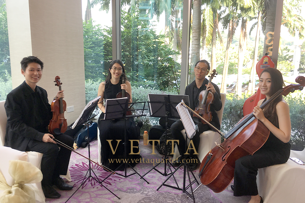 String Quartet playing background music for wedding at W Hotel