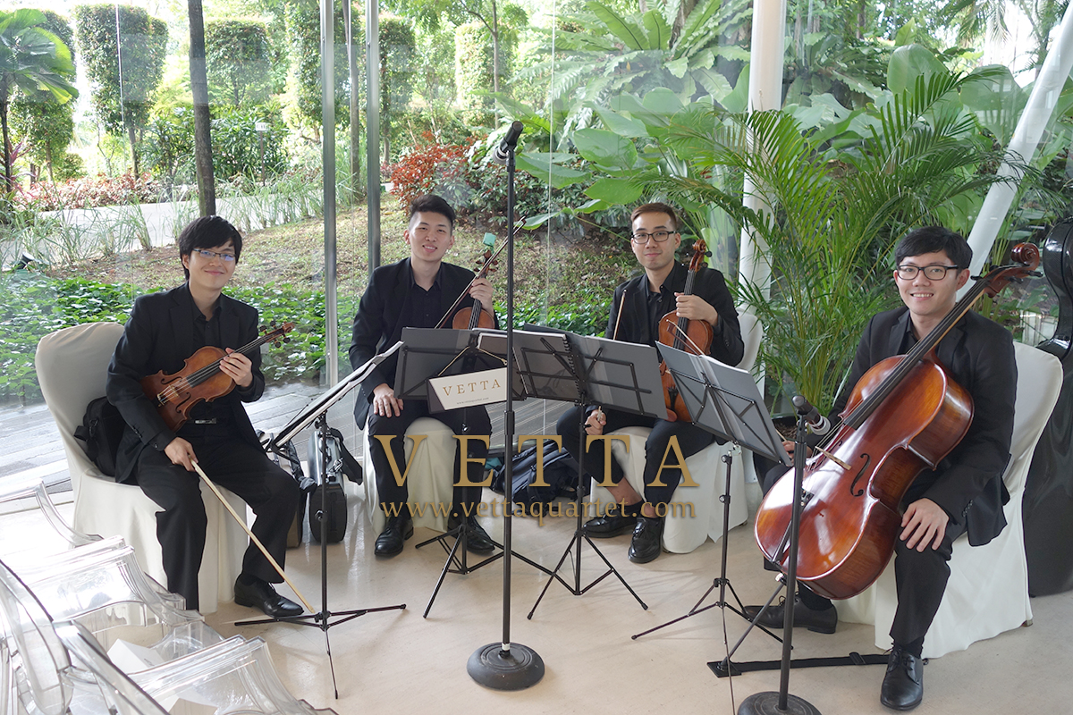 String Musicians playing for wedding at The Glass Pavilion Amara